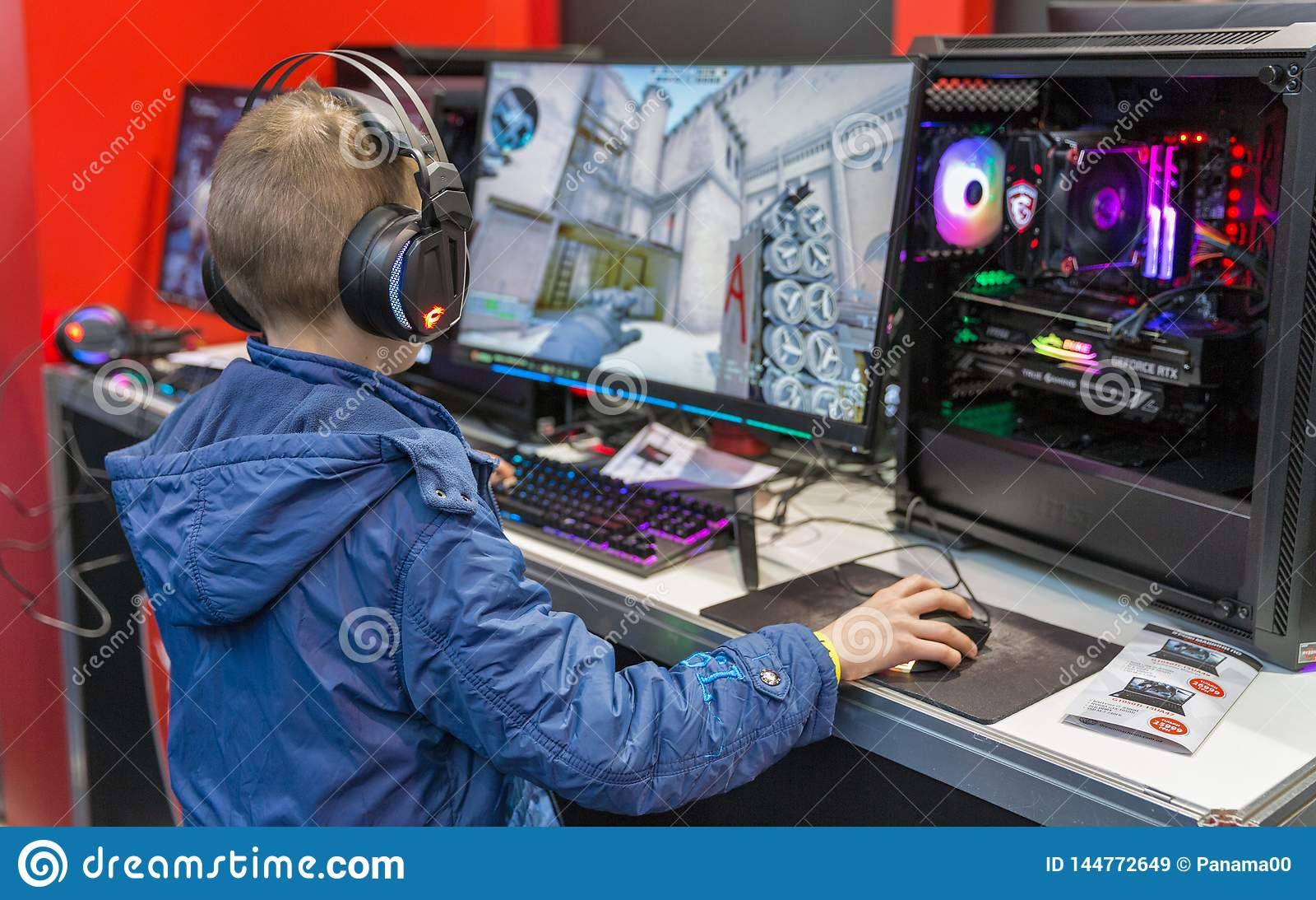 Boy Visit MSI Booth During CEE 2019 In Kyiv Ukraine