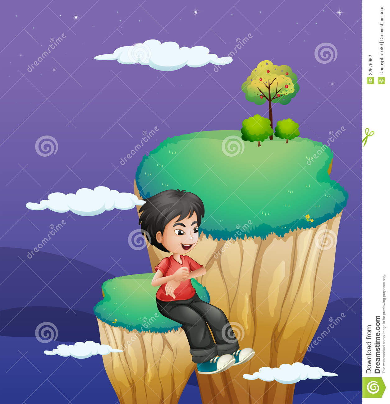 A Boy Waiting For Someone At The Topmost Part Of A Landform Stock