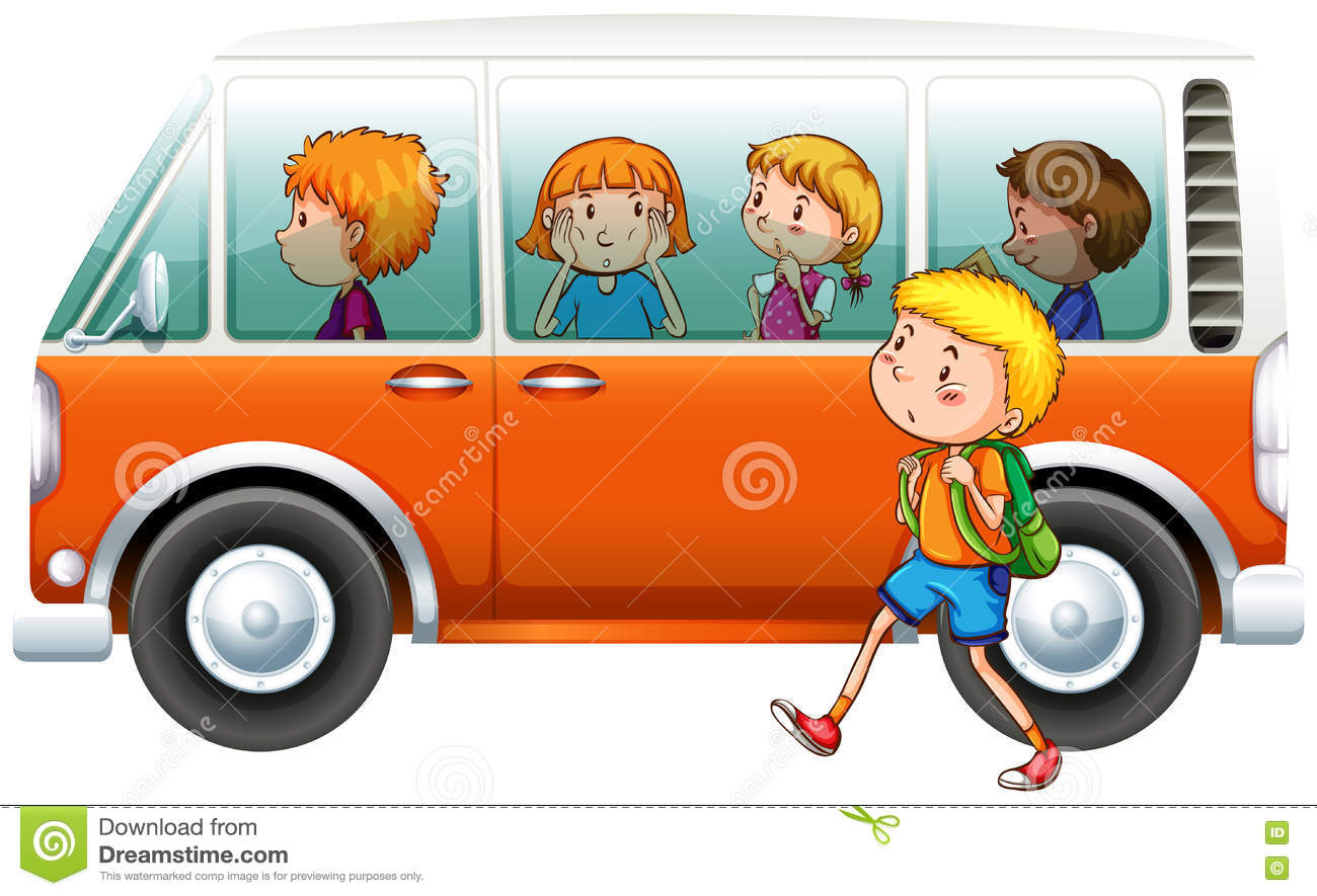 Download Boy Walking Pass Camper Van Stock Vector