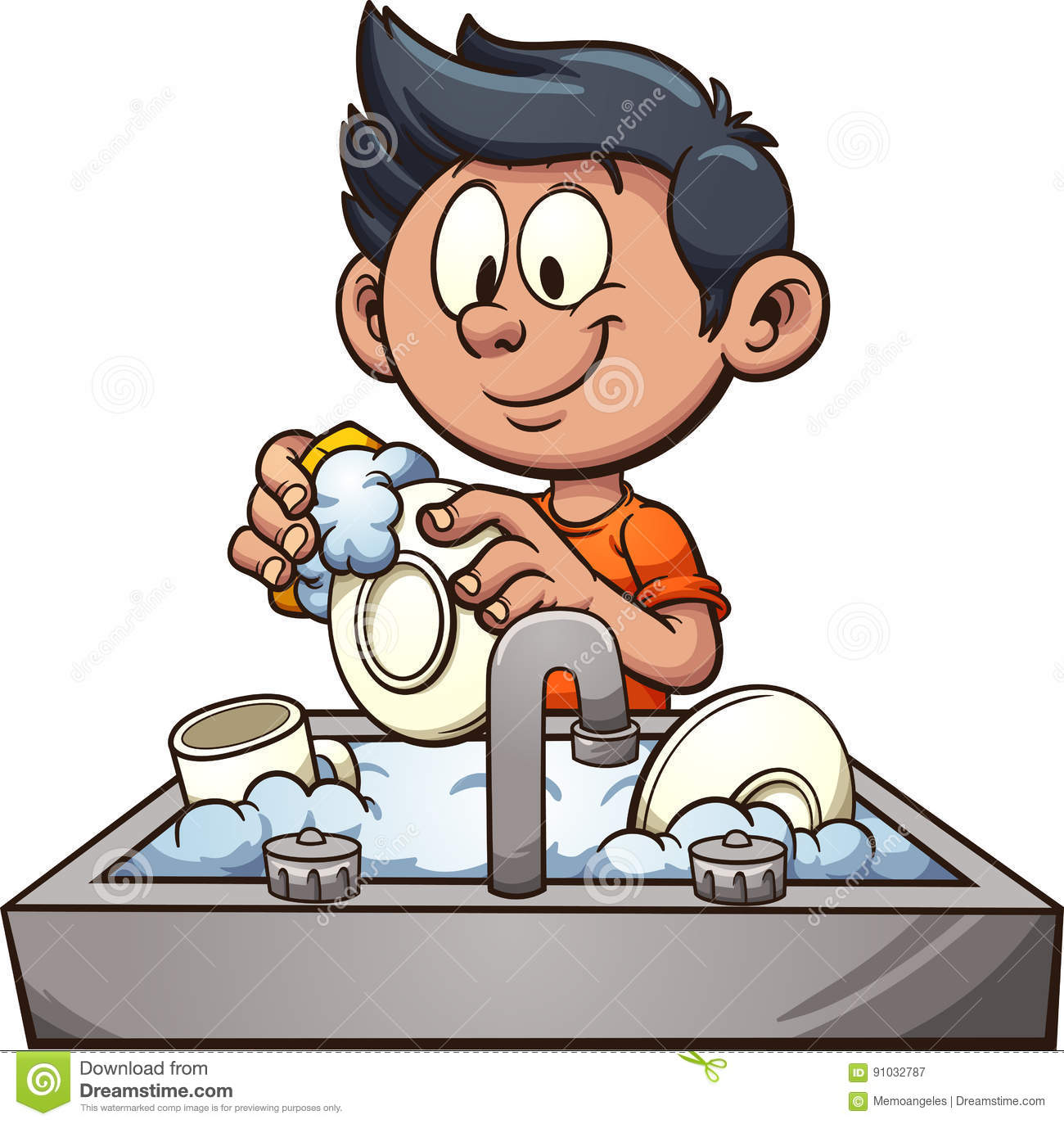 Kitchen Clean Up Cartoon: Boy Washing Dishes Stock Vector. Illustration Of Soap