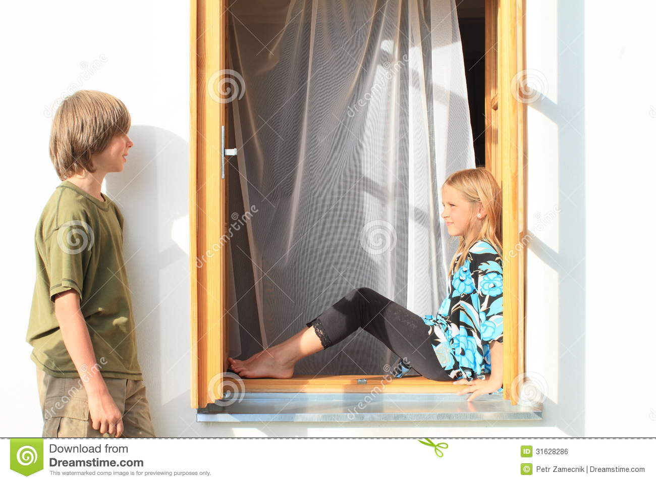 Boy Watching Girl Sitting In The Window Royalty Free Stock