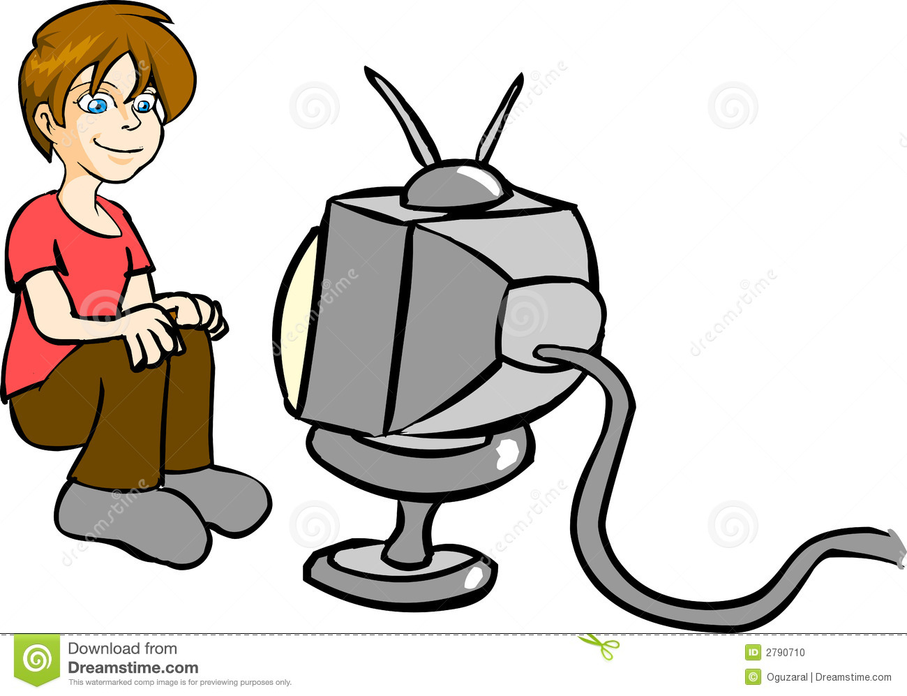 clipart boy watching tv - photo #6