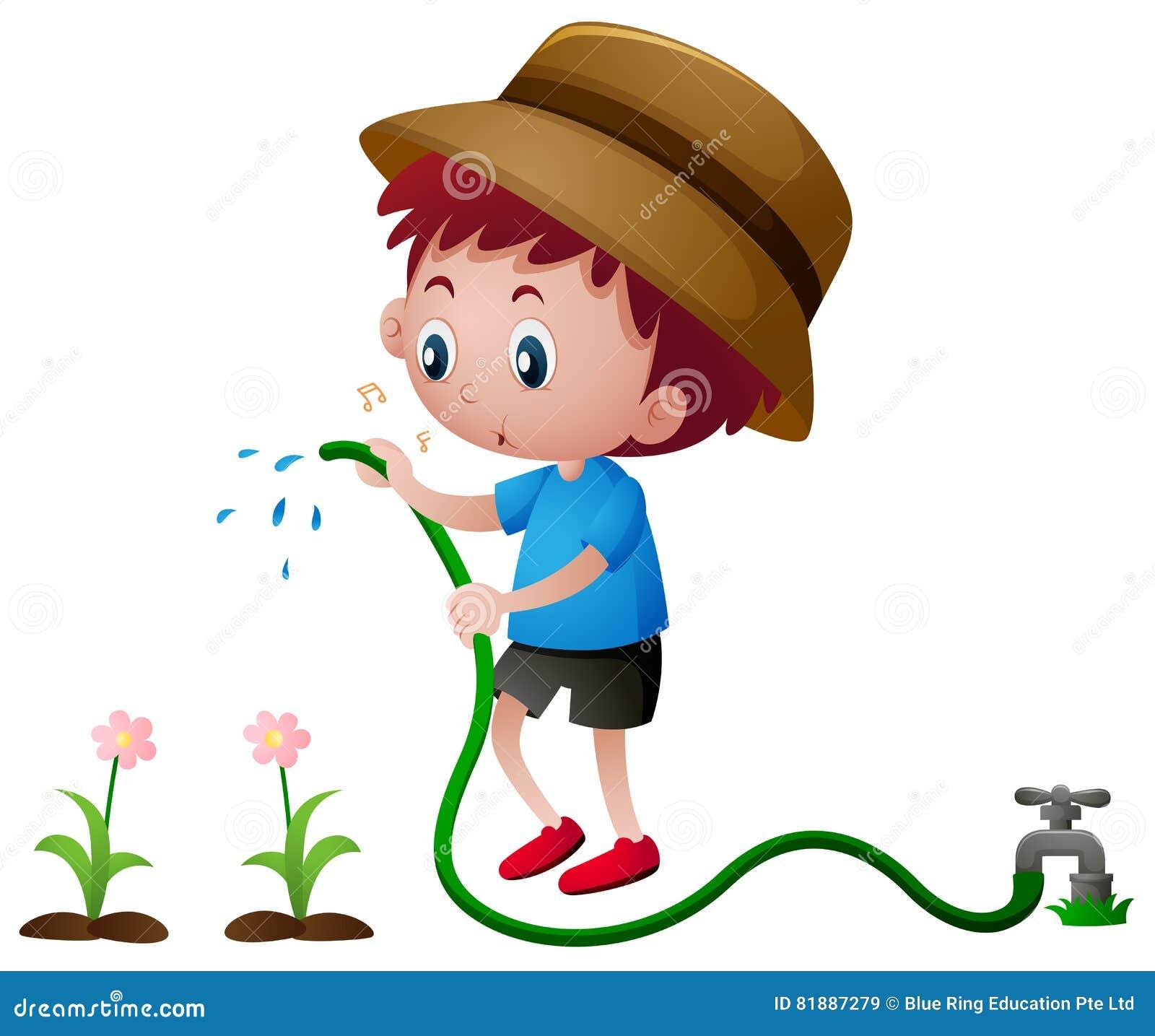 Boy Watering Plants Clipart