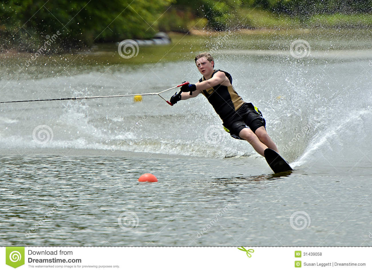 Boy Waterskiing