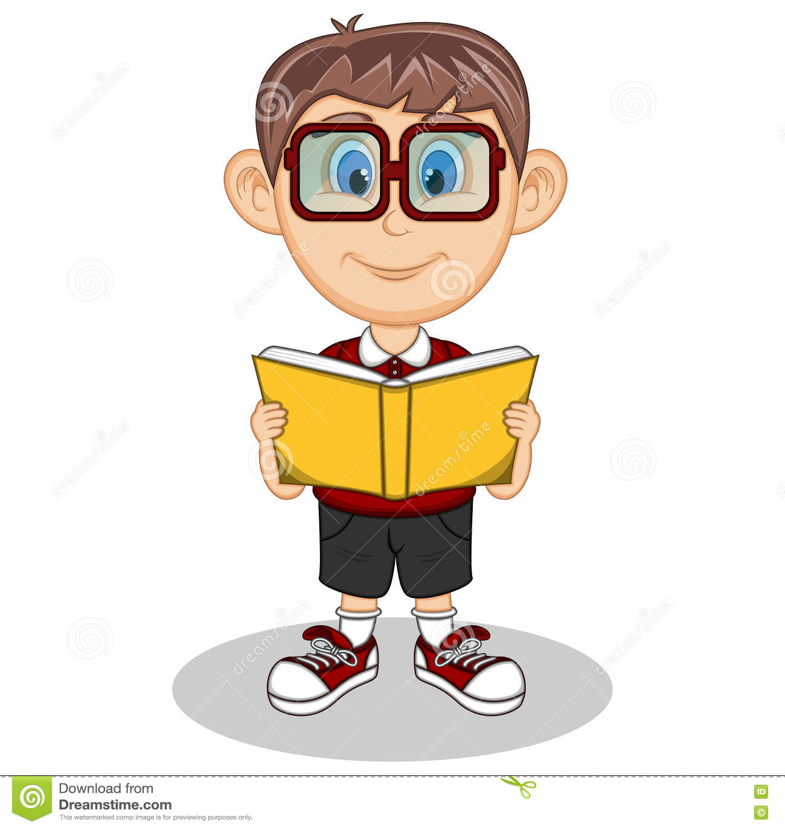 Cartoon boy with glasses