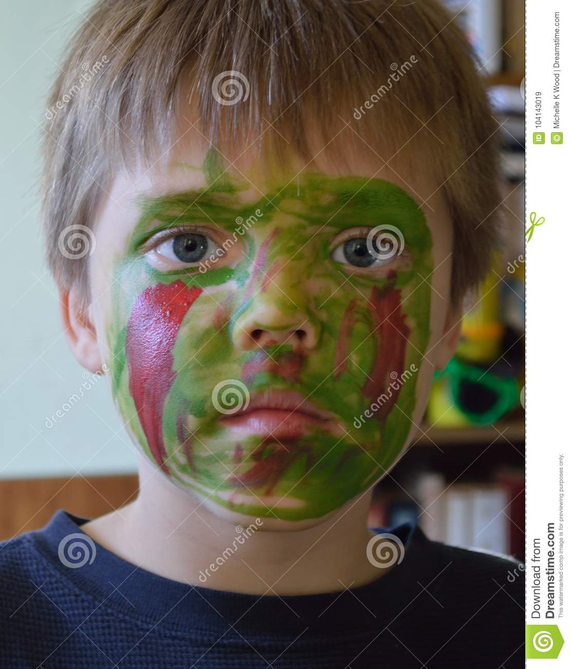 Boy wearing his Zombie face