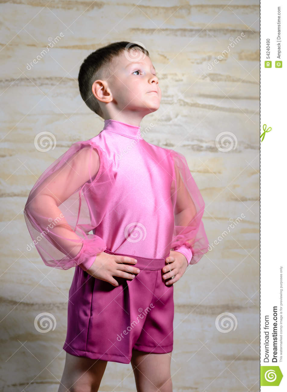 Boy Wearing Pink Dance Outfit Posing In Studio Stock Photo - Image 54240490