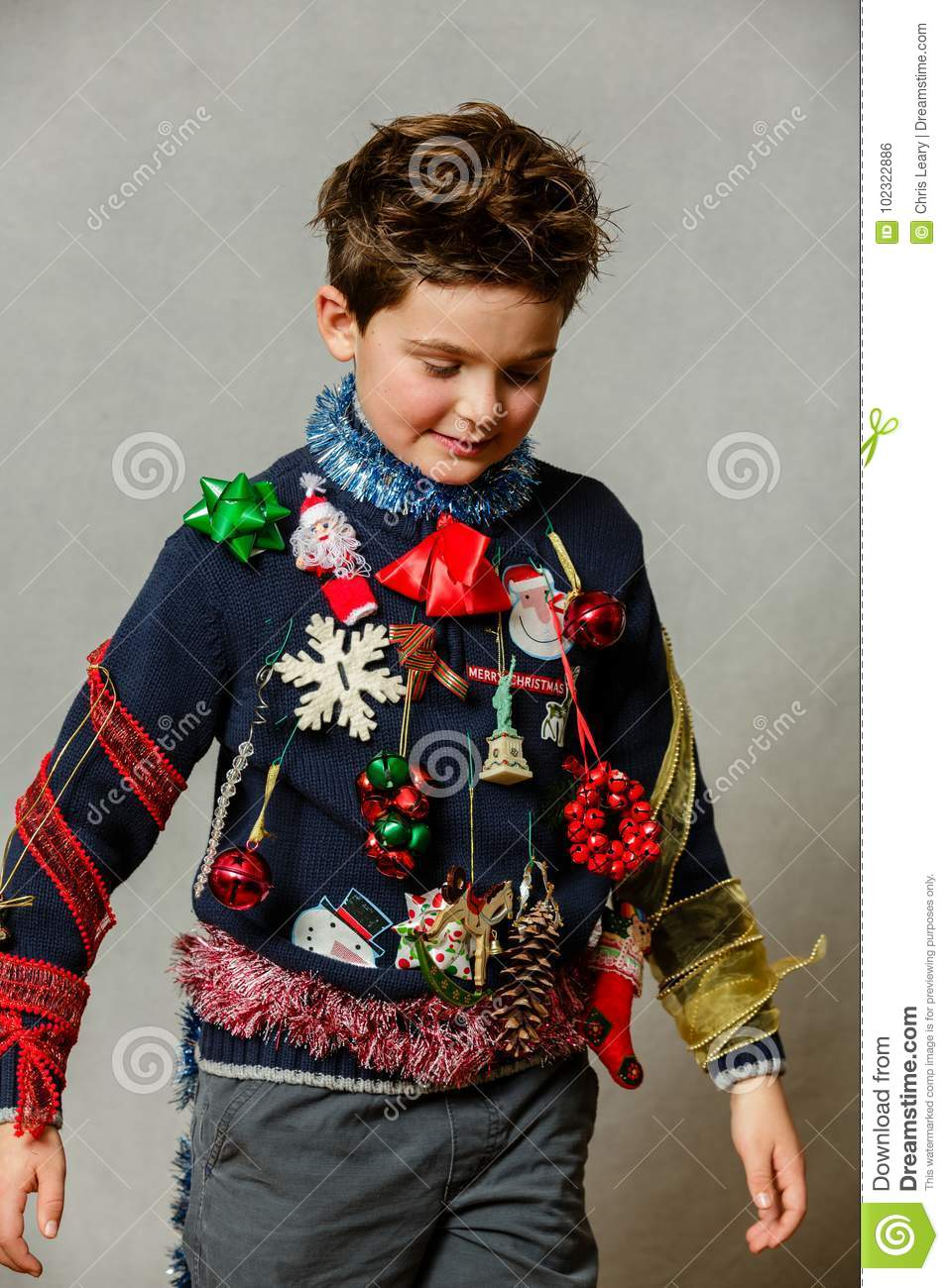 download homemade ugly christmas sweater stock photo image of sweater face 102322886 - Homemade Ugly Christmas Sweater