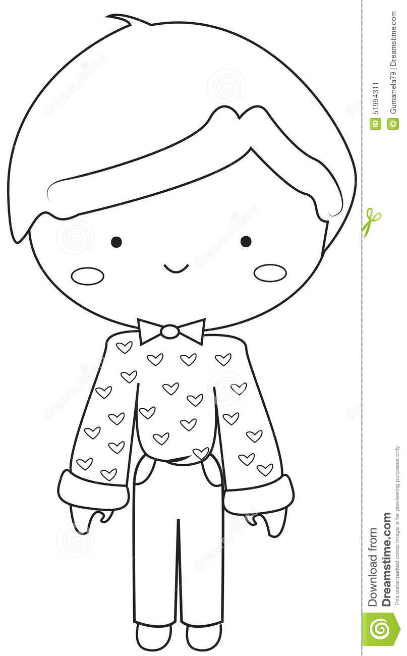 boy wearing vintage dress coloring page stock illustration image
