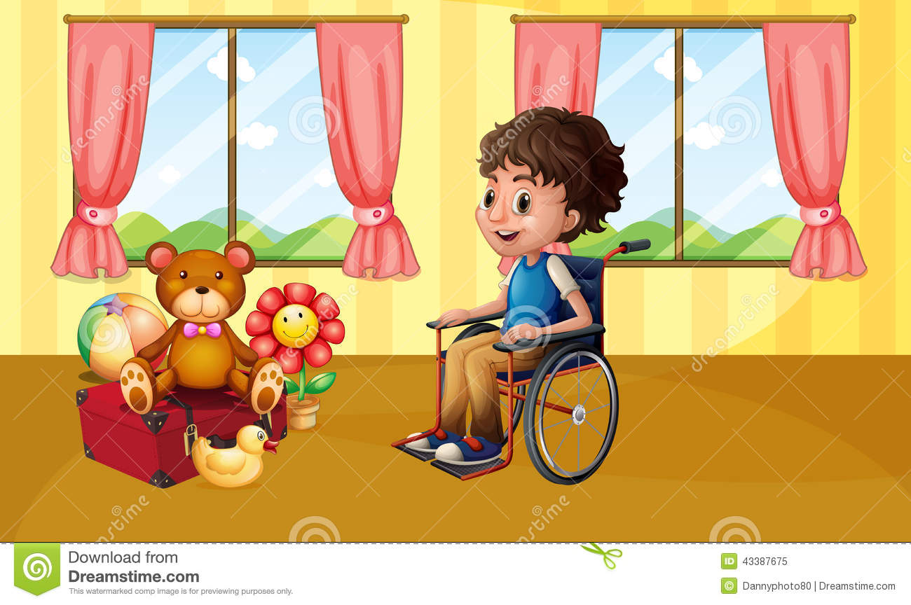Boy in wheelchair stock vector image 43387675 for Sedia a rotelle cartoon