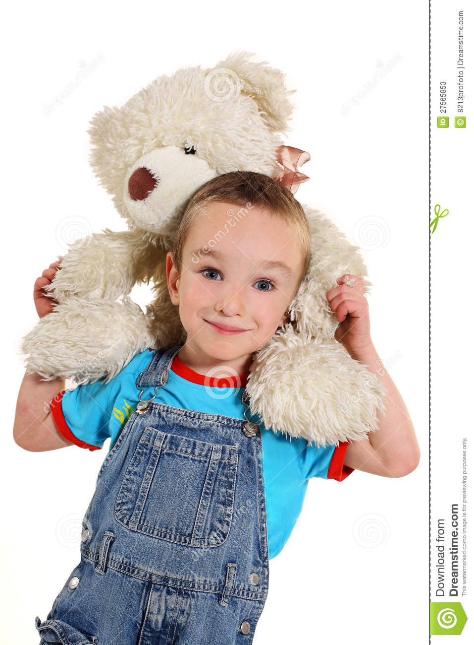 Boy with white little bear