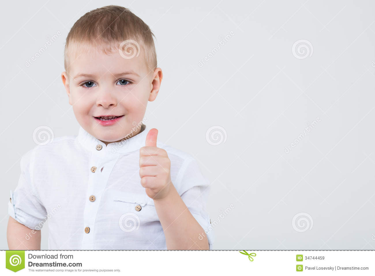 Download Boy In A White Shirt Making Thumbs Up Stock Illustration - Illustration of model, little: 34744459
