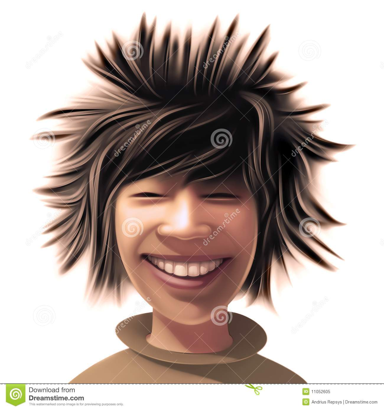 Boy With A Wild Hair Style Stock Illustration Illustration Of