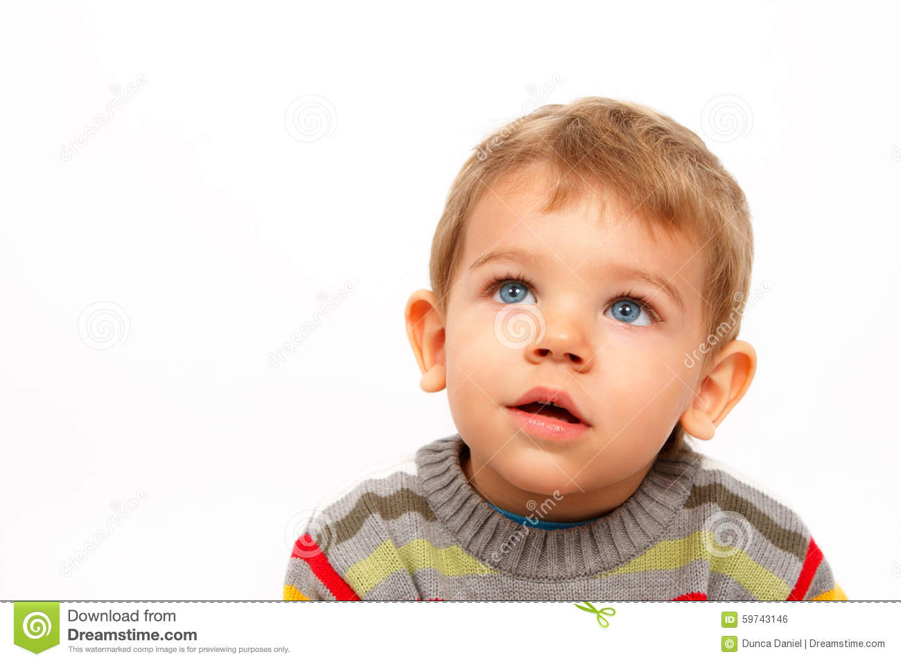Boy In Winter Clothes Looking Up Amazed Stock Photo ...
