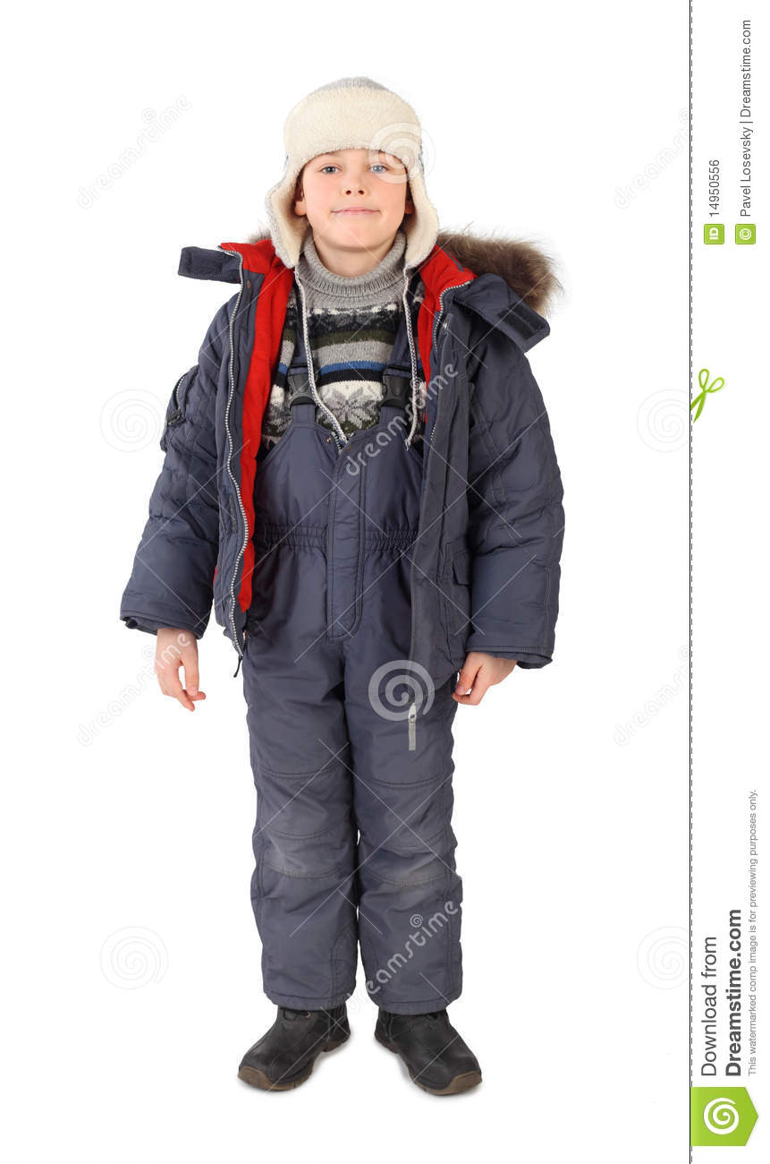 Boy In Winter Dress Standing And Smiling Isolated Stock