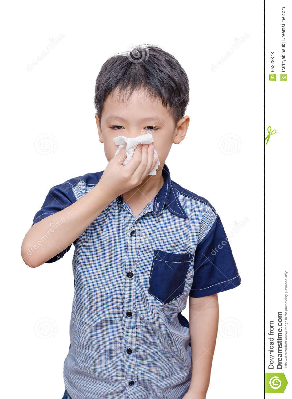 Boy Wipes His Nose By Tissue Paper Stock Photo - Image ...