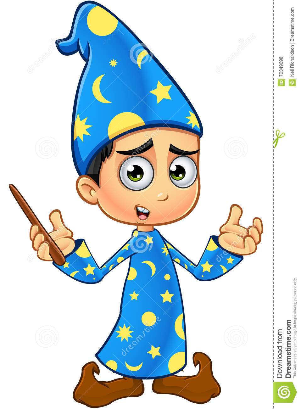 boy wizard in blue confused stock vector image 70349698