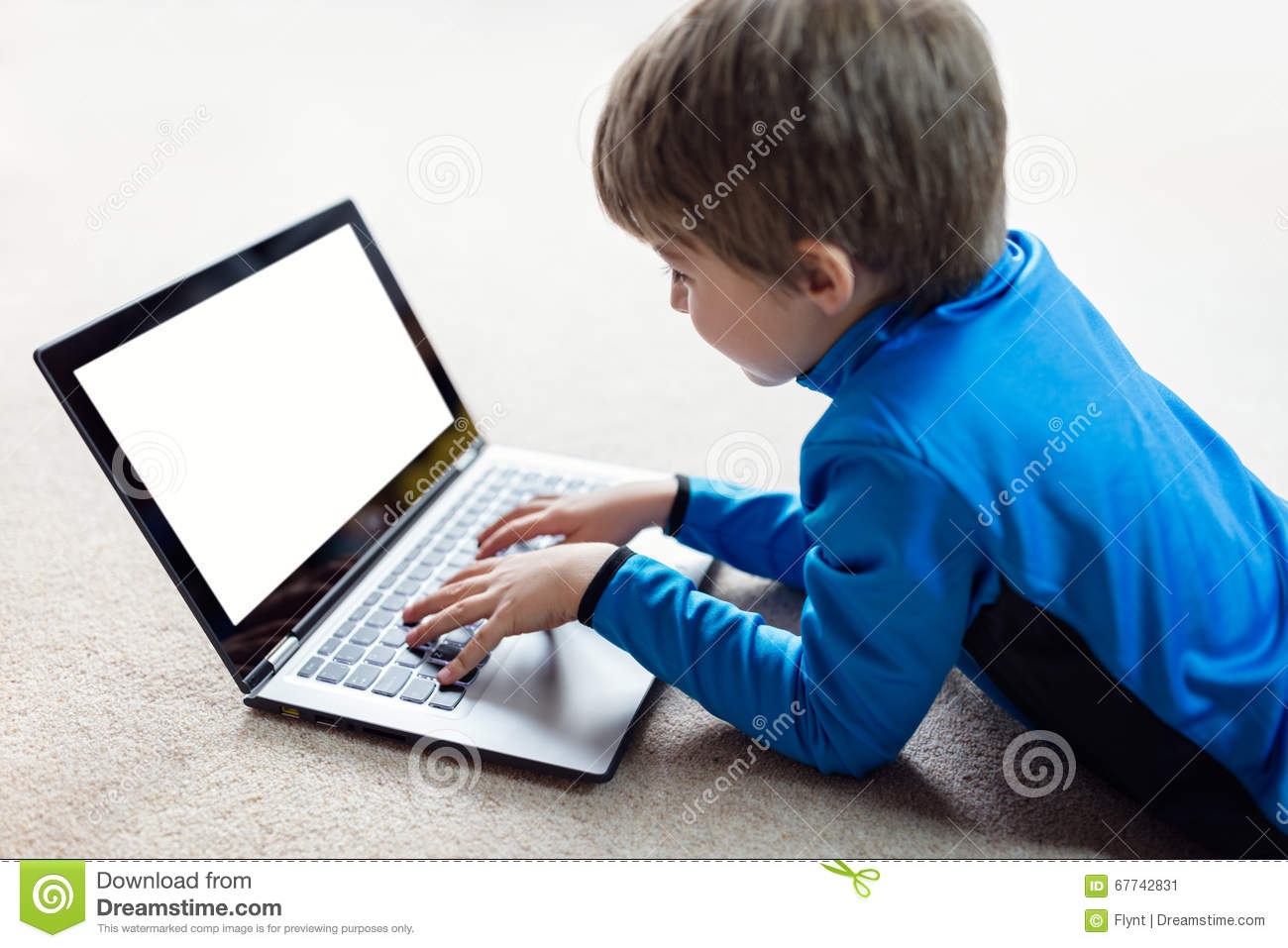 Boy Working On Laptop Computer Stock Image Image Of