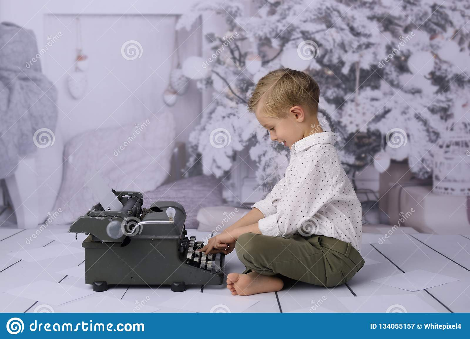 A letter to Santa Claus. A letter to Santa Claus. A happy child writes a gift list.