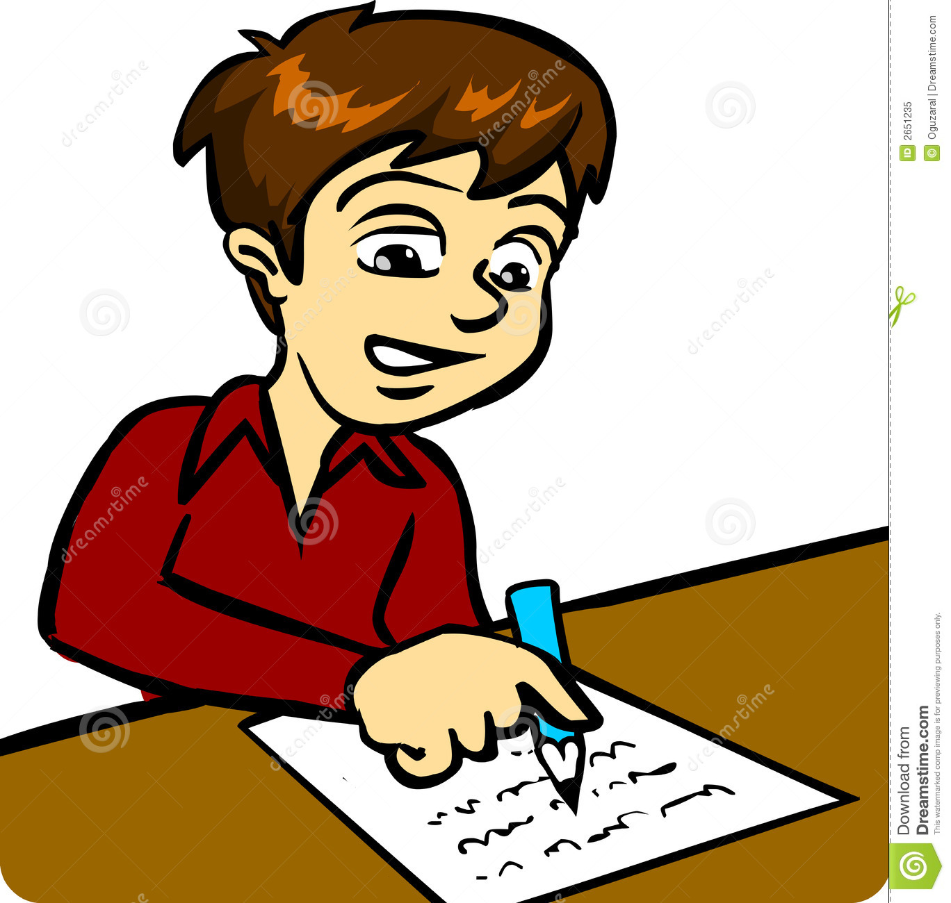 Clipart Picture of Boy Writing on Paper