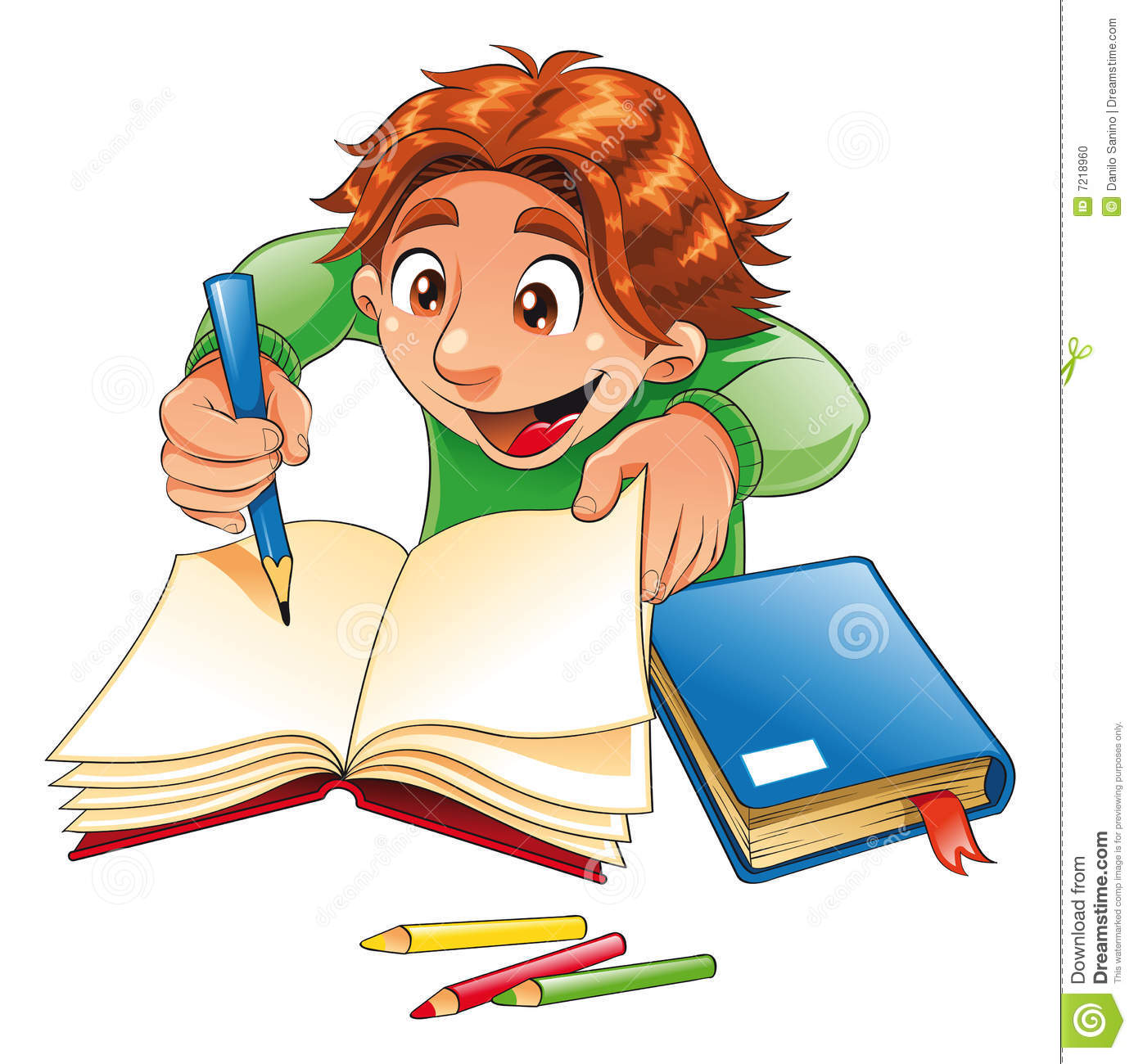 Boy writing and drawing, vector image, software:Illustrator.