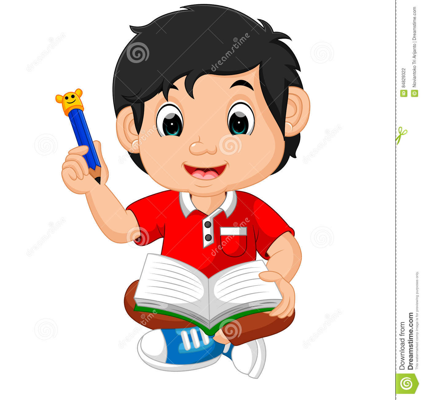boy writing and drawing funny cartoon stock vector