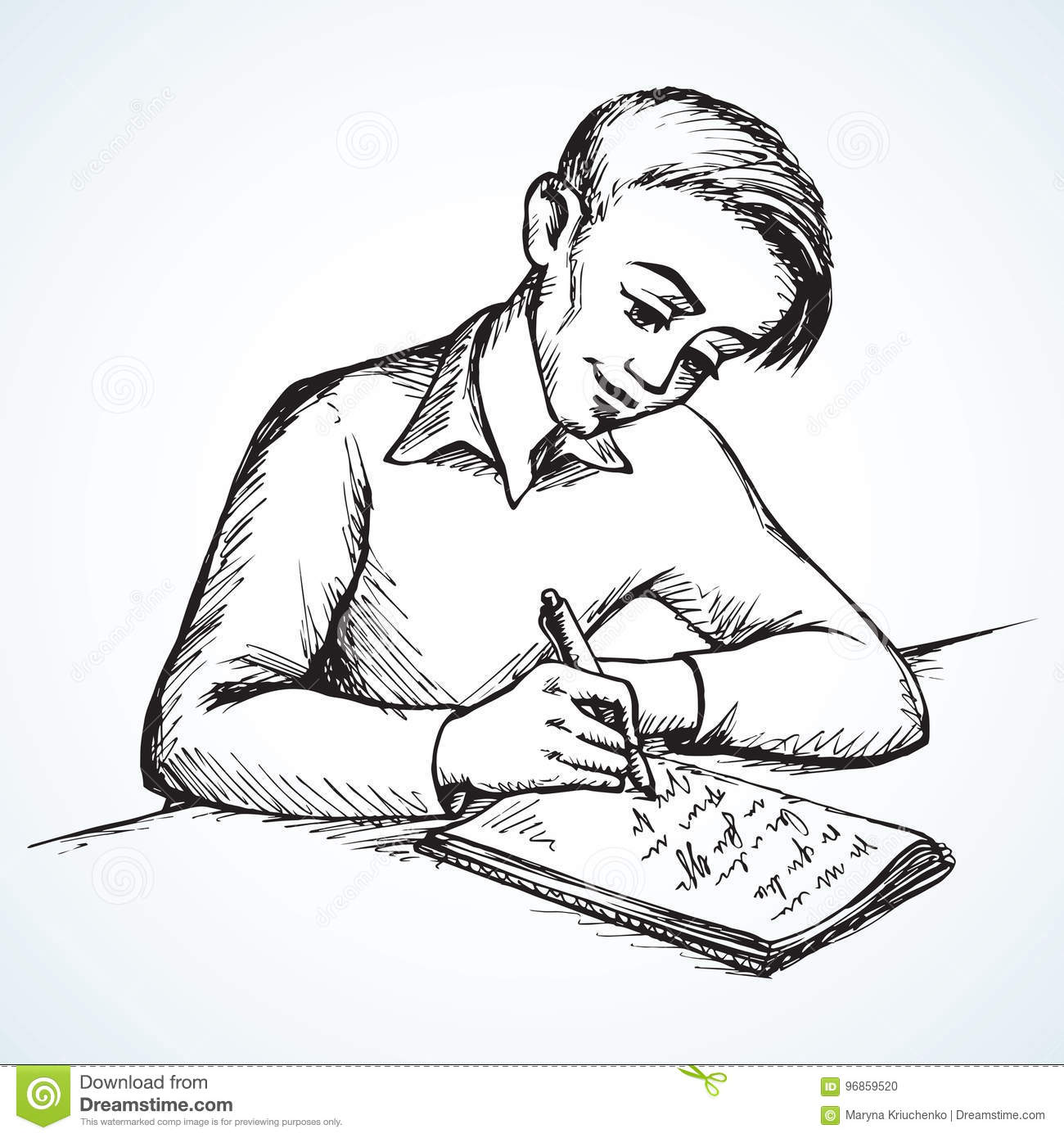 boy is writing letter vector drawing stock vector