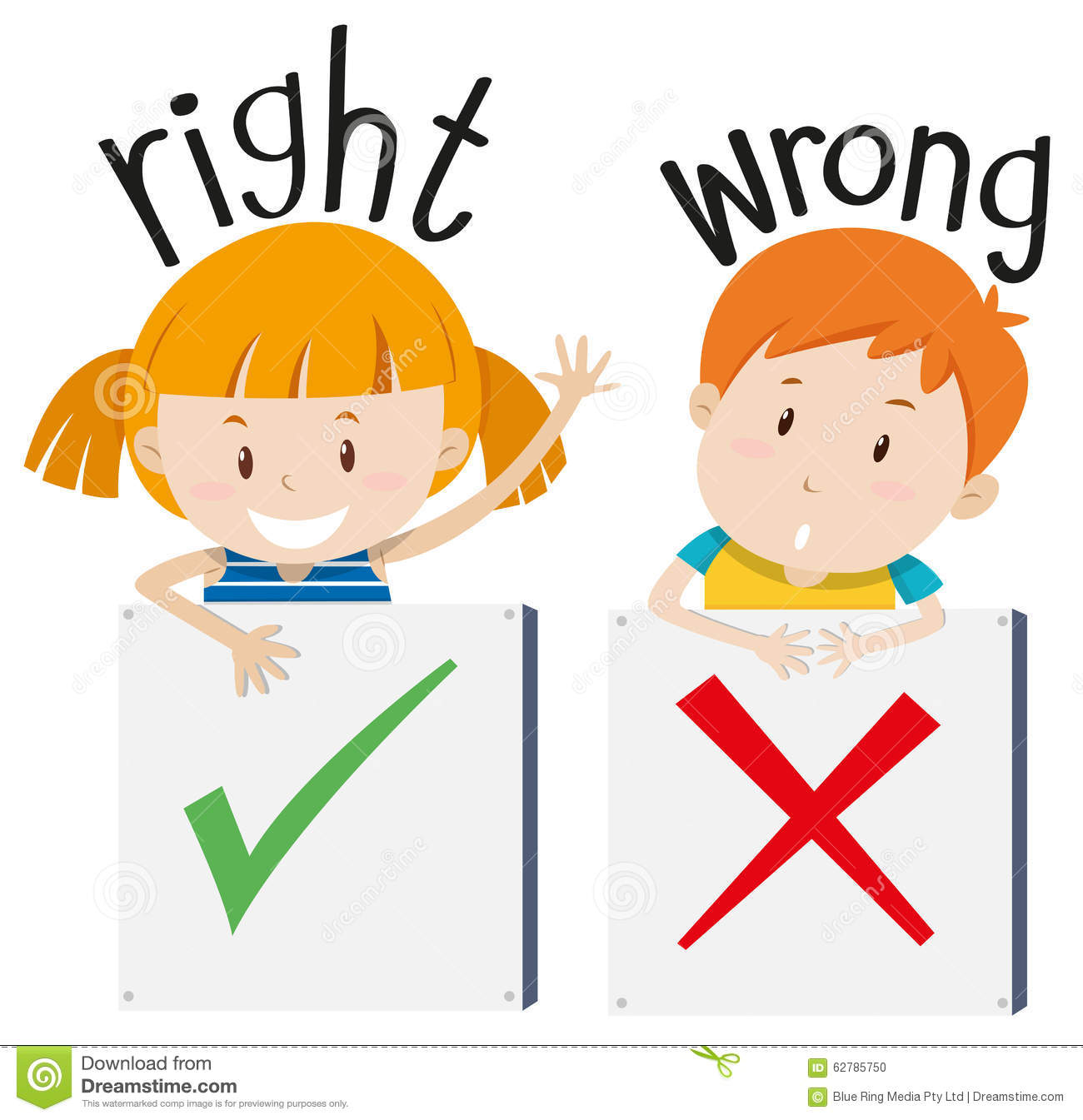 Boy With Wrong Sign And Girl With Right Sign Stock Vector - Image ...