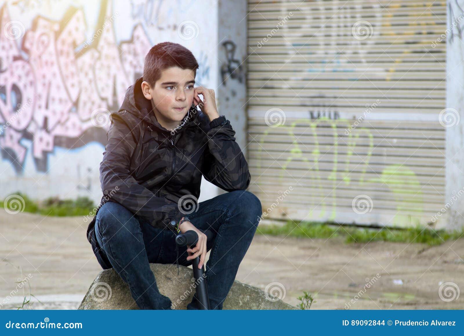 Boy Young Urban Style Stock Photo Image Of Garage Graffiti 89092844