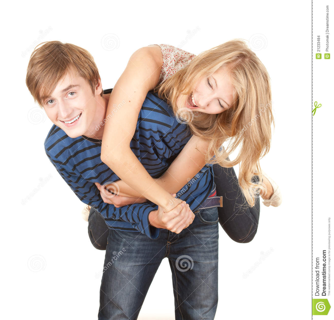 Boyfriend Giving Girl A Piggyback Stock Photo
