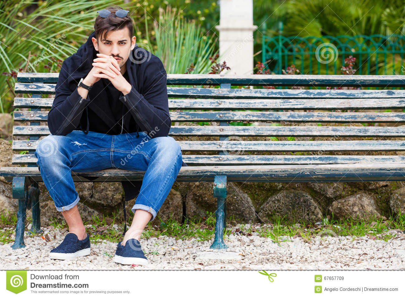 Boyfriend Waiting Handsome Young Man Model Sitting On The Bench Stock Photo Image 67657709