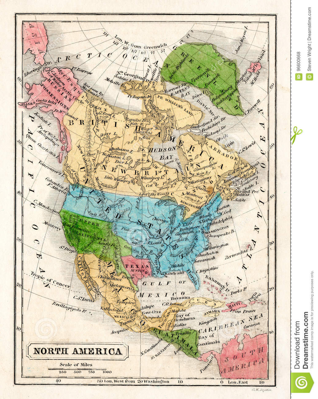 1845 Boynton Map Of The North America With The Republic Of Texas