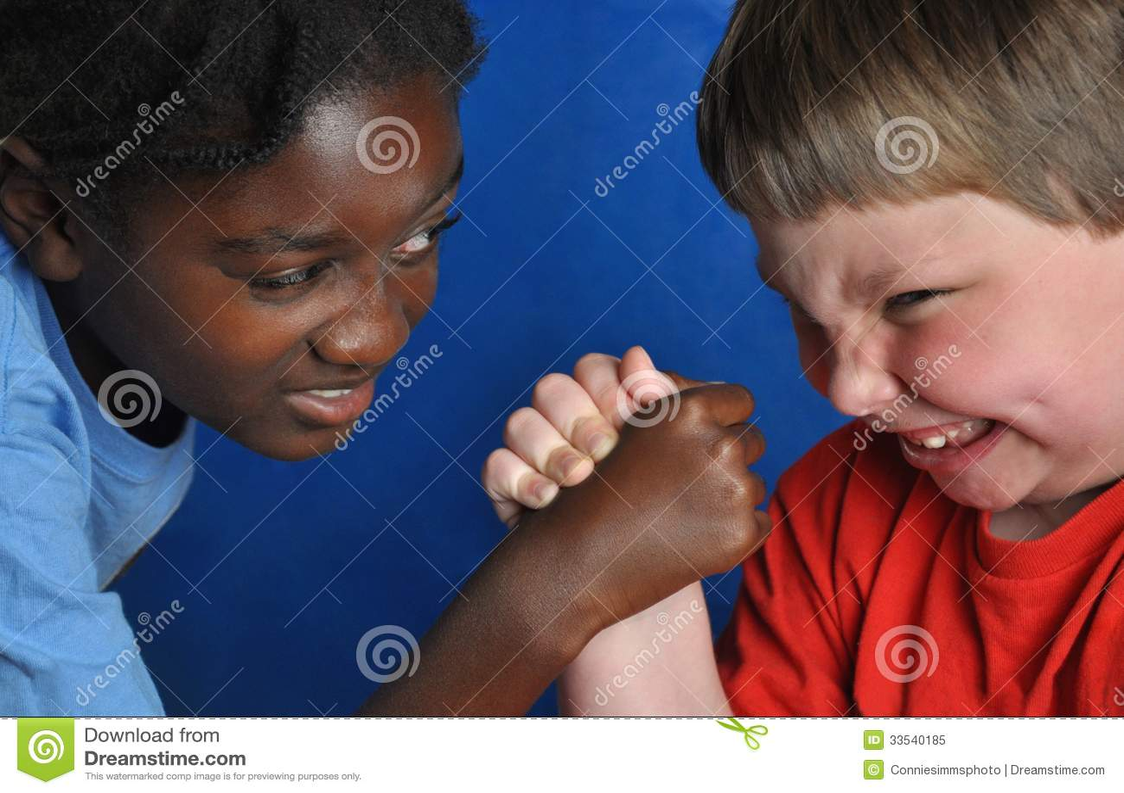 Boys arm-wrestling