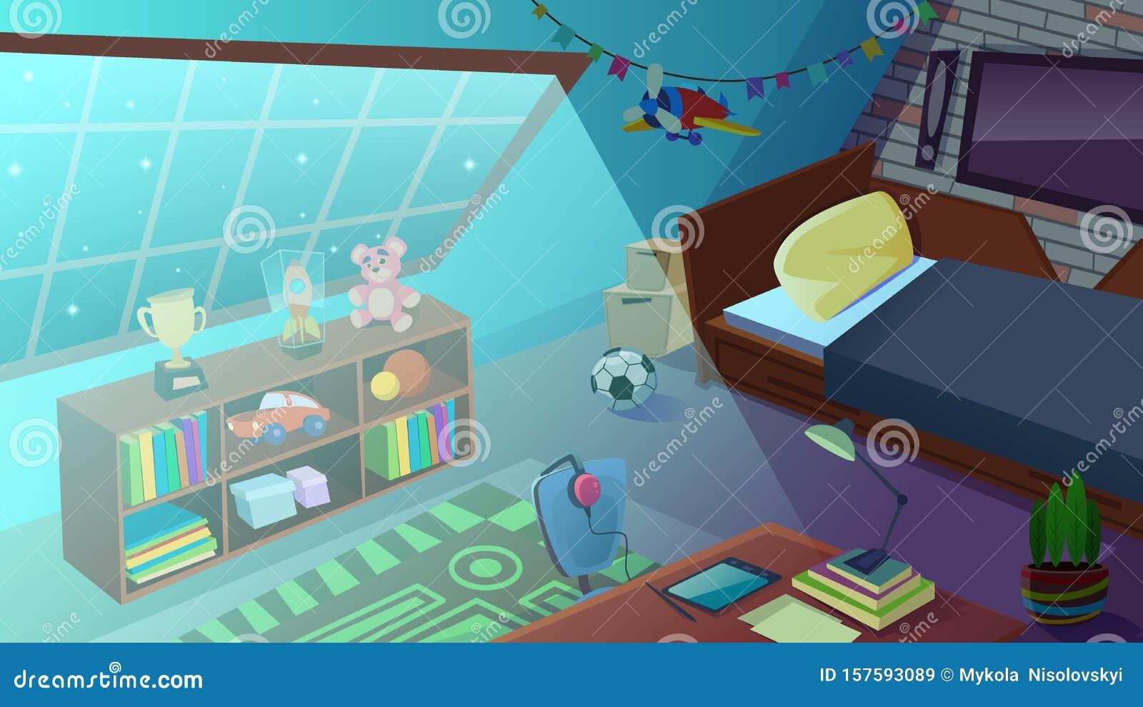 Boys Bedroom Interior At Night Time Kids Room Stock