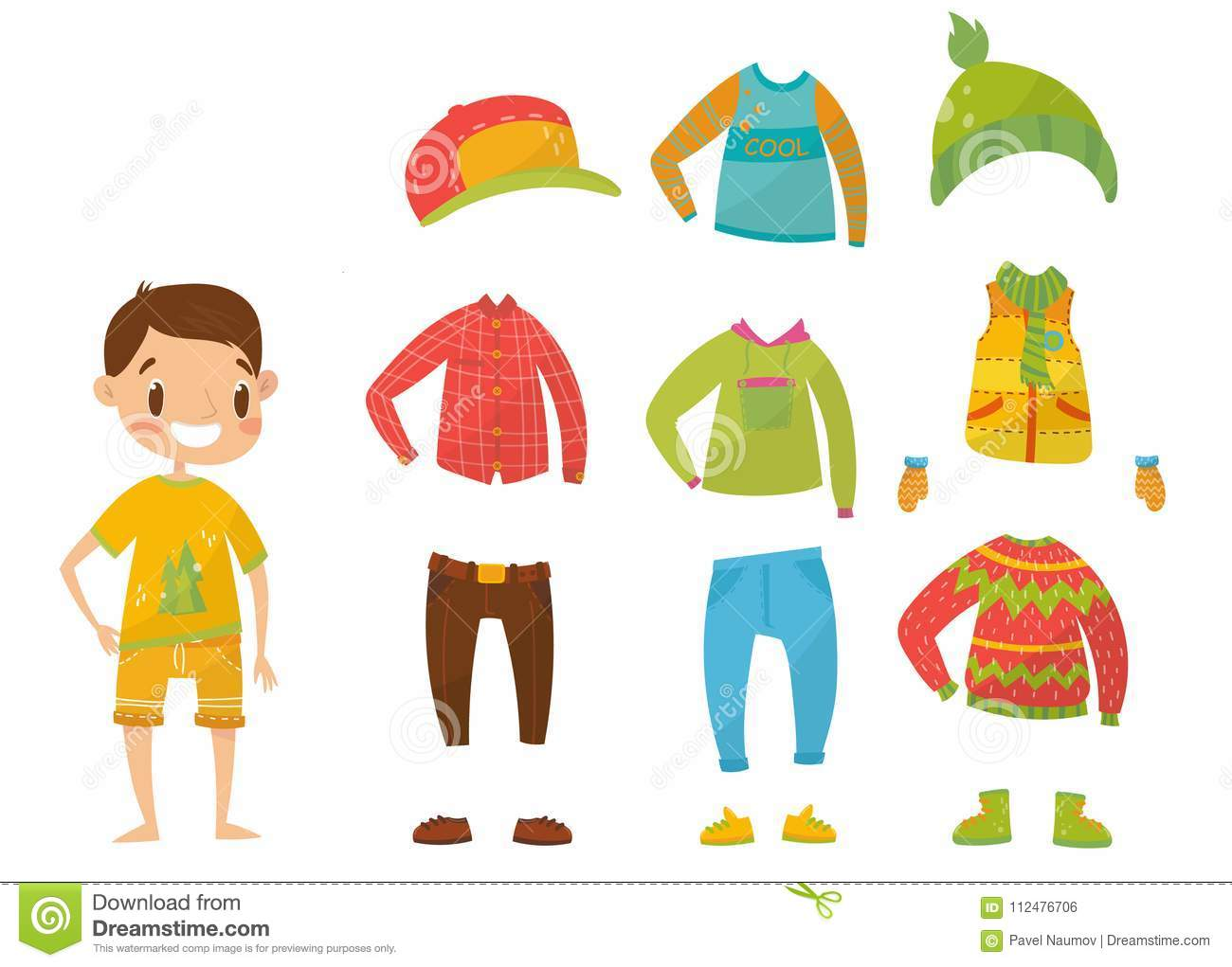 8a0082d8dc8ea Boys clothing collection, set of clothes and accessories vector  Illustrations