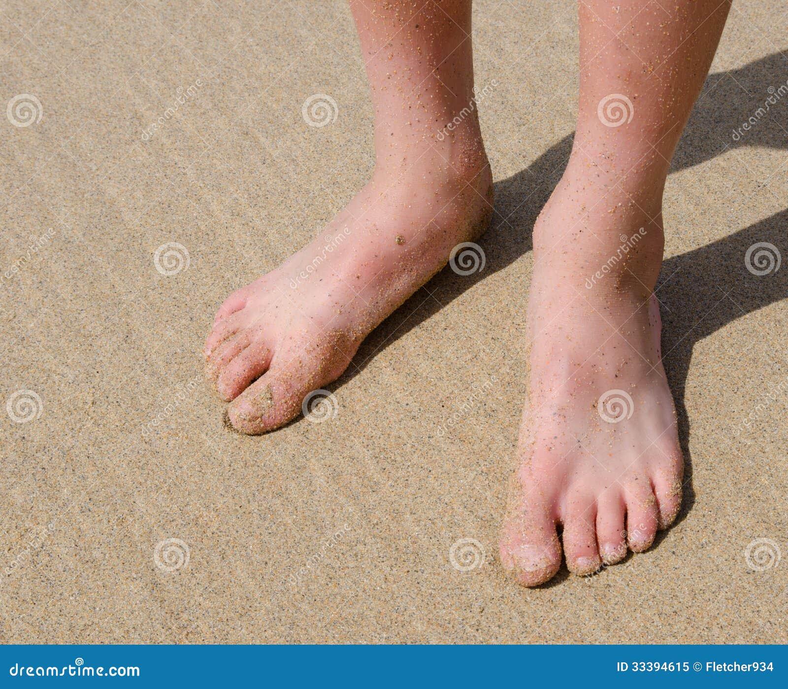 Boys Feet On Sand