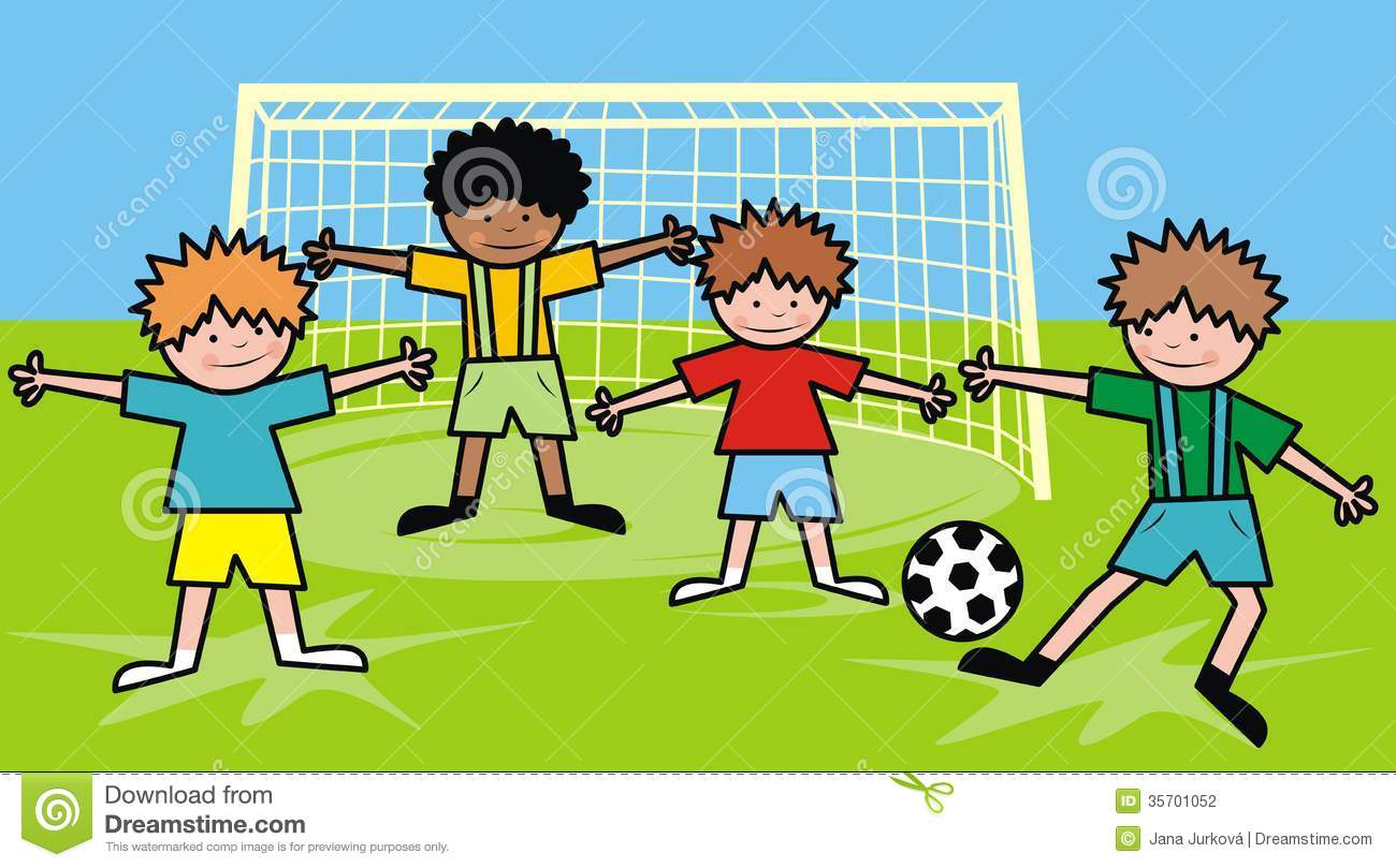 Kids Soccer Player Clipart Four boys are playing football