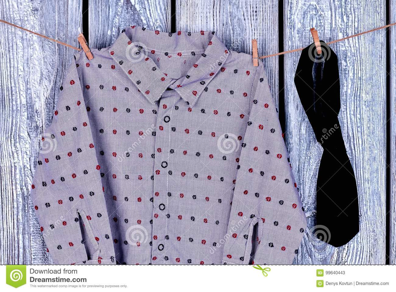 6e7212a96 Boys Garment Hanging On Rope. Stock Image - Image of closeup ...