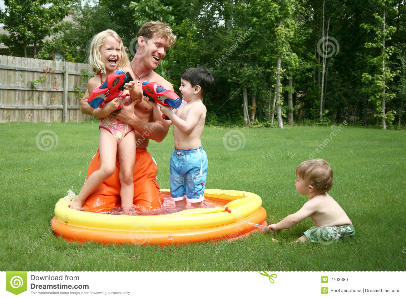 Boys And Girl Play With Dad In Stock Photo - Image Of -5677