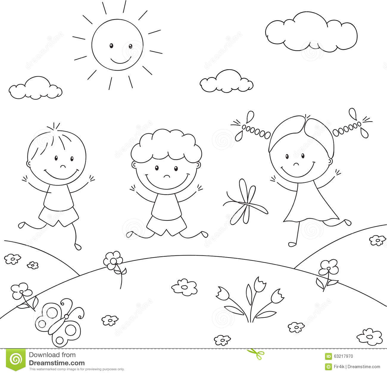 Boys And A Girl Playing In The Meadow. Coloring Book Stock Vector ...