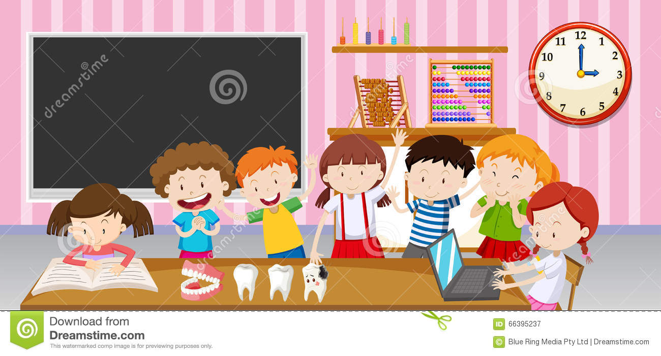 boys and girls in the classroom stock vector image 66395237