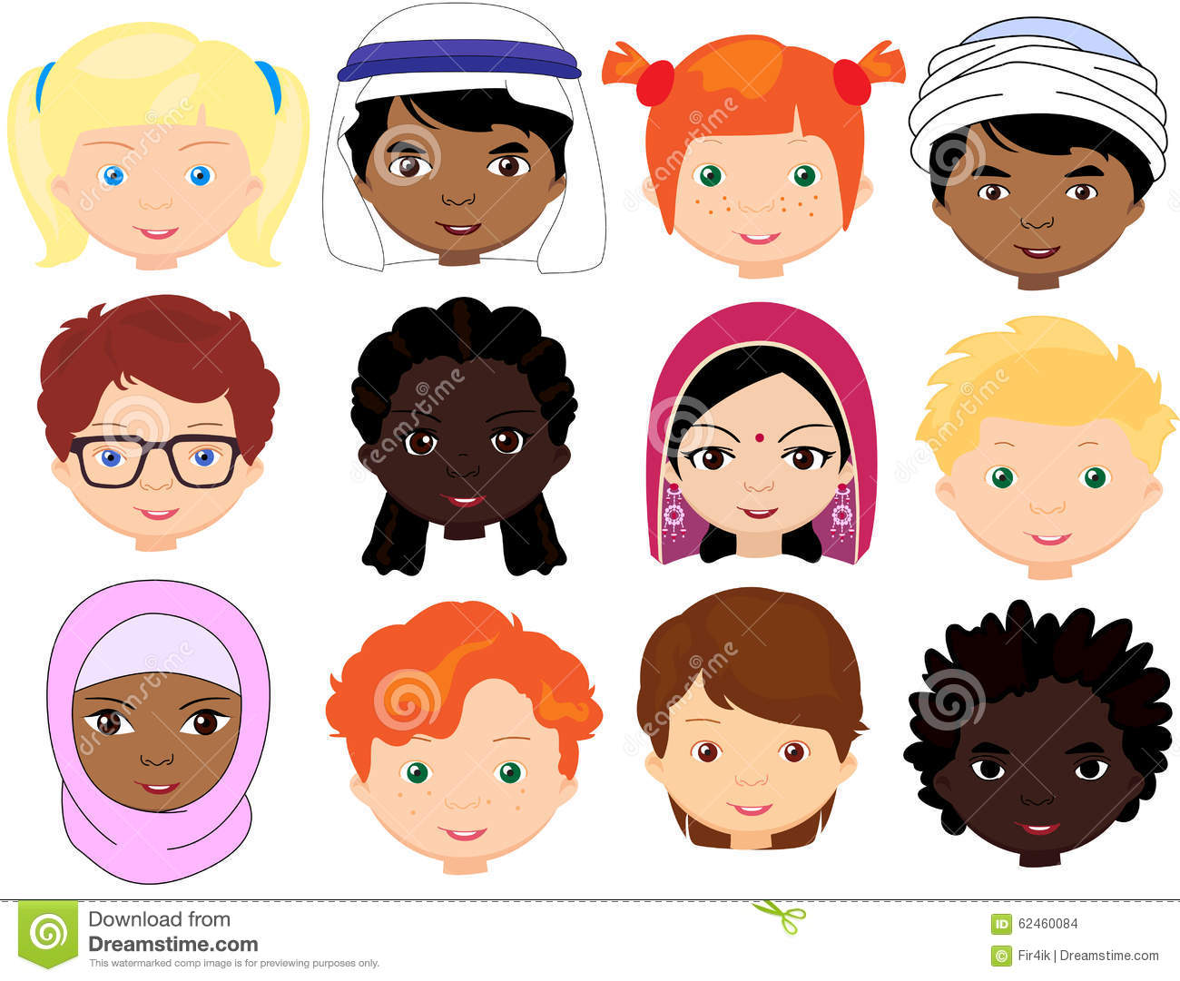Set Of Cartoon Childrens Faces Stock Vector Art More: Boys And Girls Of Different Nationalities. Multinational
