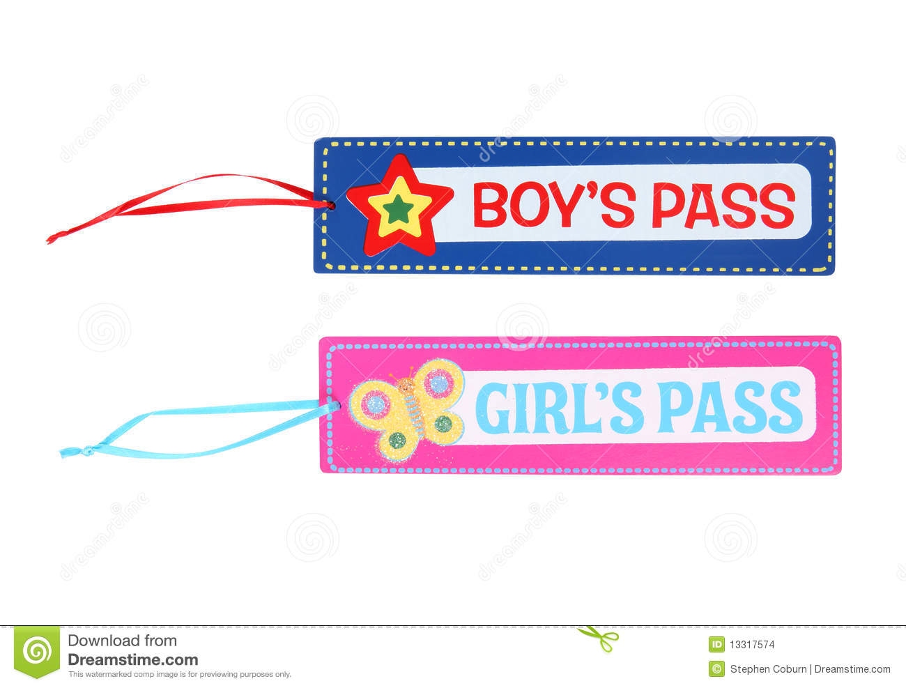 Boys and Girls School Pass Isolated over white.