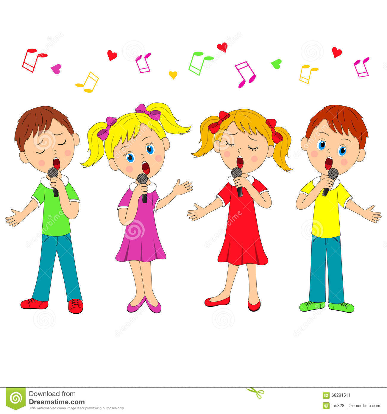 Boys And Girls Singing Stock Vector Illustration Of