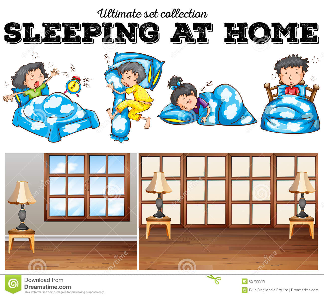 Boys and girls sleeping in bed stock vector illustration for Boys and girls in bed