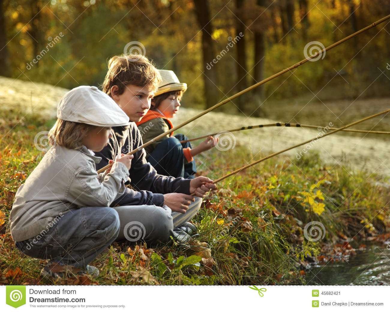 Boys go fishing on the river stock photo image 45682421 for How to go fishing