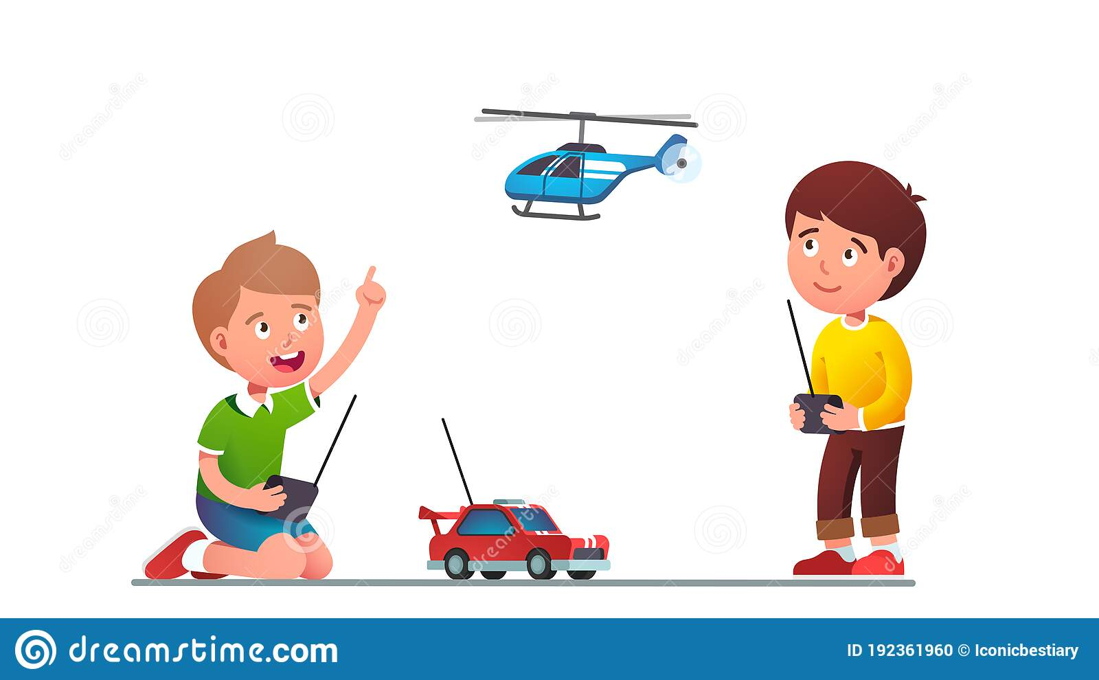 Boys Kids Playing With Radio-controlled Toy Car Stock ...