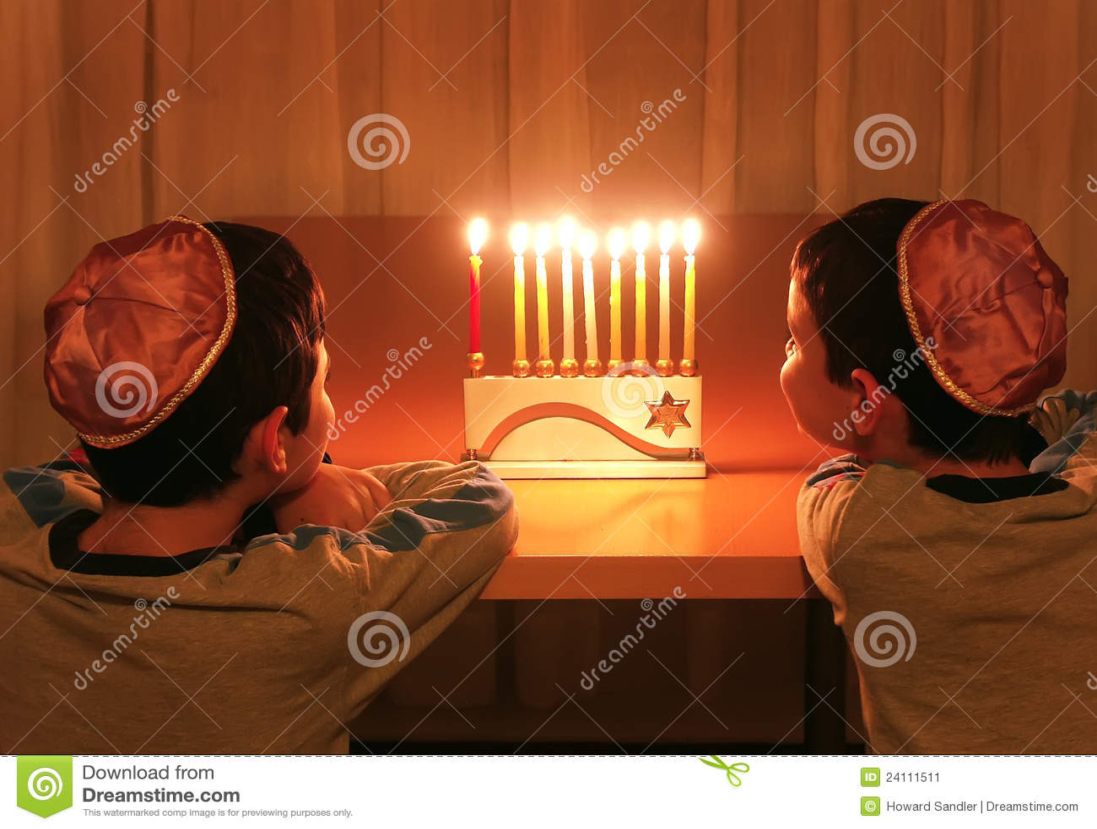 Boys Look at Hanukkah Menorah