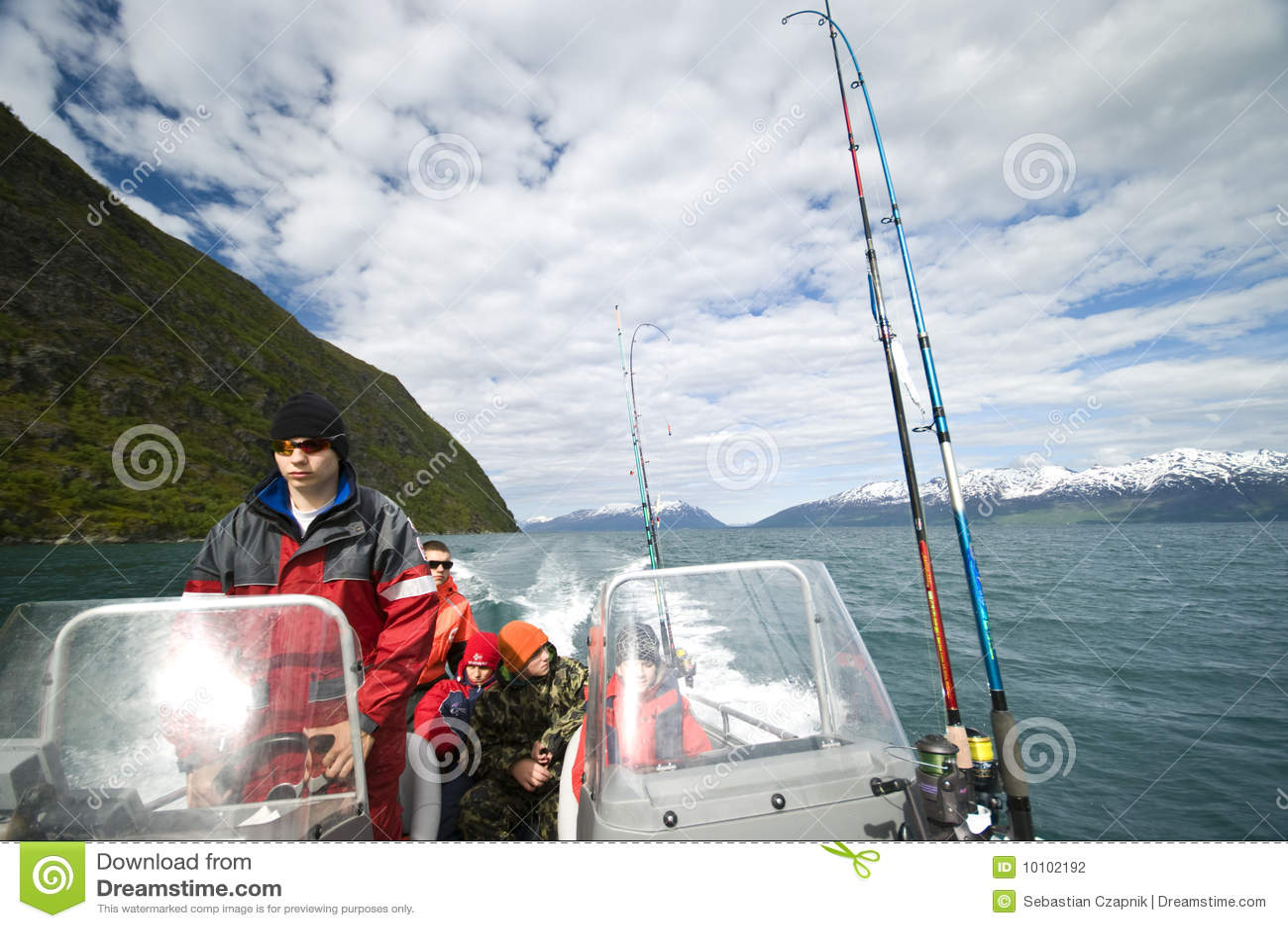 Boys in motorboat