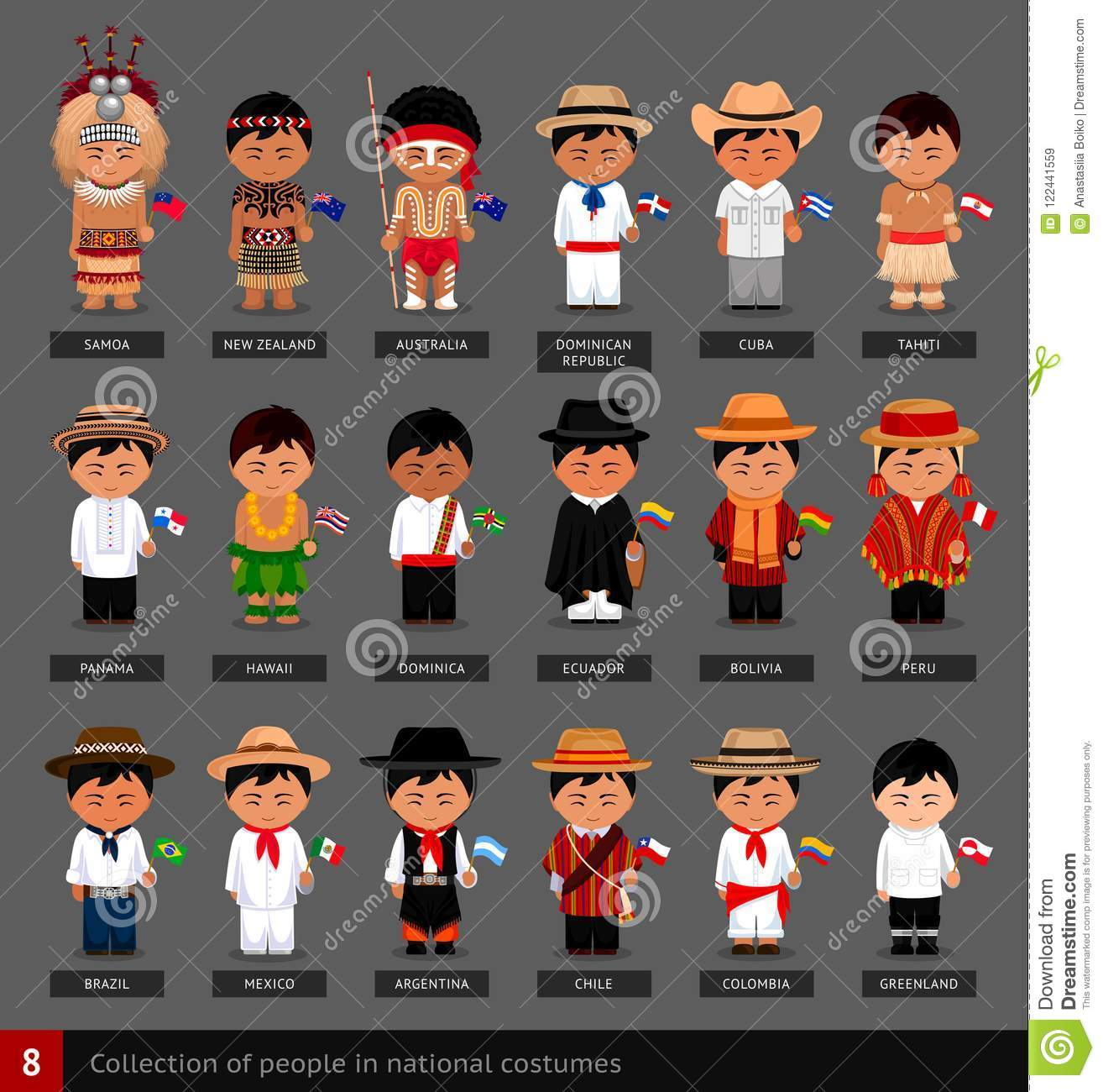 Boys In National Costumes With Flags. Stock Vector ... Bolivian Children